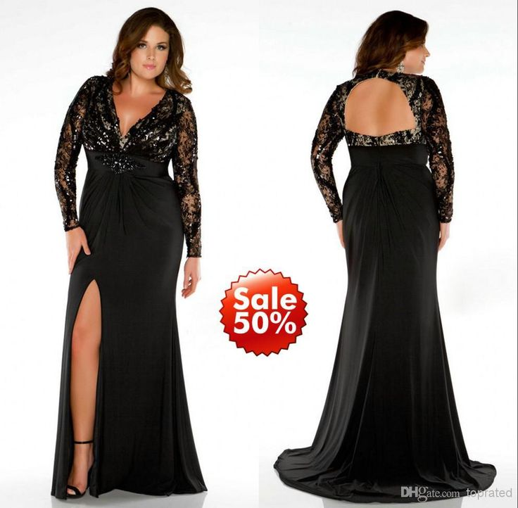 2015 Plus Size Prom Dresses Lady Evening Gown Formal With Mermaid V Neck Long Sleeve Backless Beads Sequins Crystal Black Lace Side Split Buy Dresses Online Designer Dress From Toprated, $119.32| Dhgate.Com