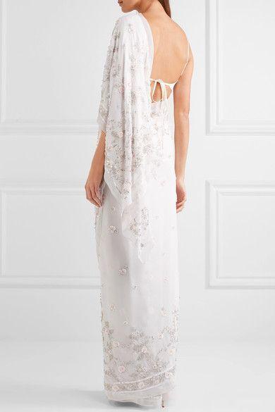 Needle & Thread - Astral Embellished Silk-chiffon Saree - Ivory - medium
