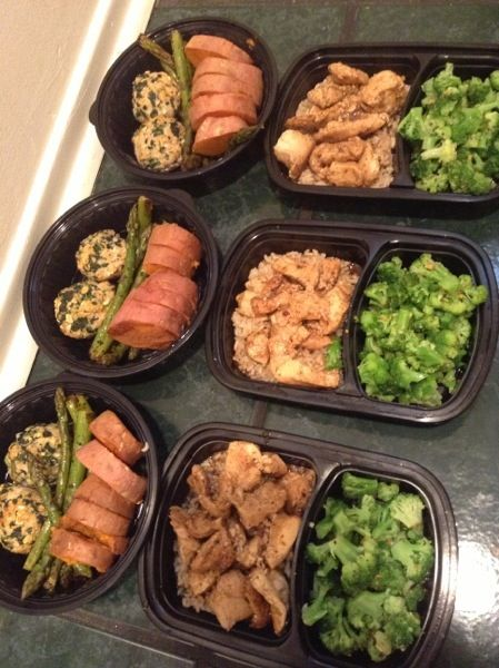 Meal prep - Turkey meat balls. Tilapia. Chicken. Brown rice. Asparagus. Broccoli. Sweet potato.