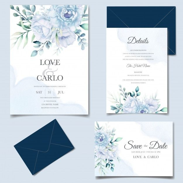 Elegant Wedding Invitation Cards Template With Watercolor Flower And Leaves Wedding Invitation Cards Elegant Wedding Invitations Flower Wedding Invitation