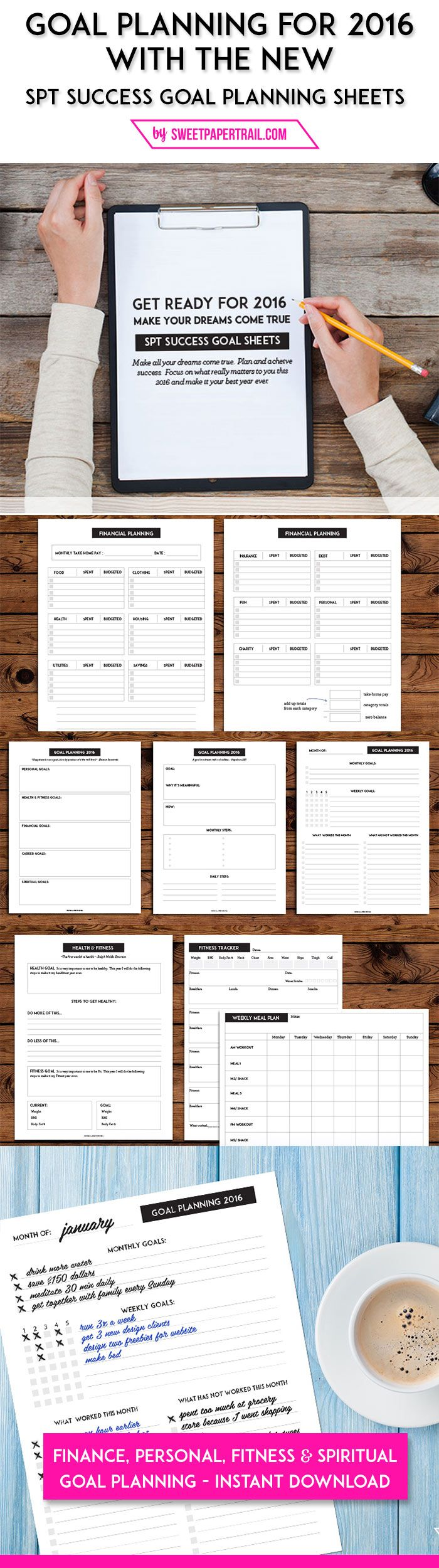 2016 goal planning worksheets by Sweet Paper Trail