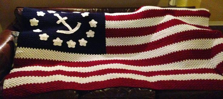 Nautical American Flag Afghan (crochet)