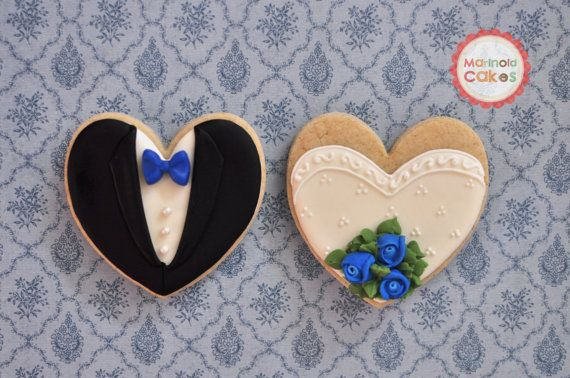 Bride and Groom Wedding Favor Cookies with Rose by MarinoldCakes, $38.00