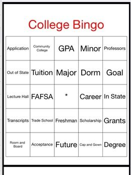 "College Bingo Activity. You will receive 30 BINGO cards for your class. Included are the definitions to the words. Use this game as a call out BINGO, or call out the definitions(included) and the students will reflect on the words.    Review the key ""college"" words with the students before the game."