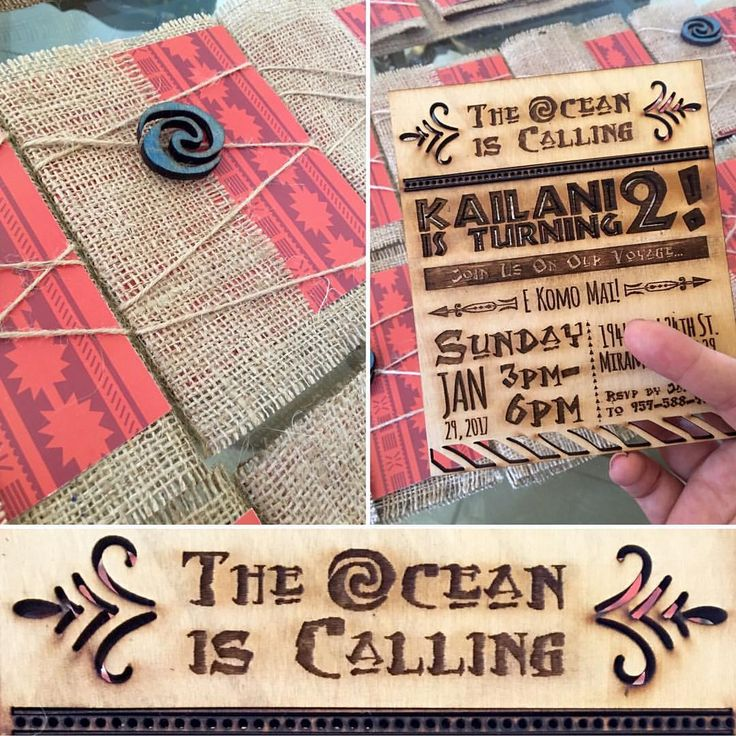 Moana Party Invitations  Engraved Wood