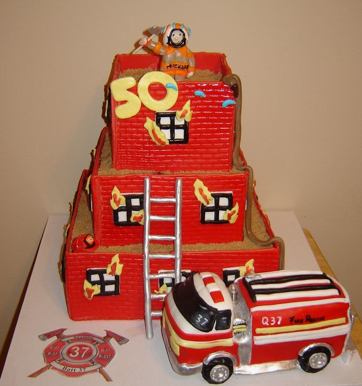 Fire Truck & Burning Building Cakes | Shared by LION