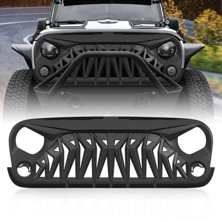 Matte Black Upgraded Front Shark Grill for Jeep Wrangler Rubicon Sahara Sport JK//JKU 2007-2018