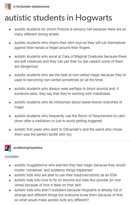 Autistic hogwarts students, harry potter