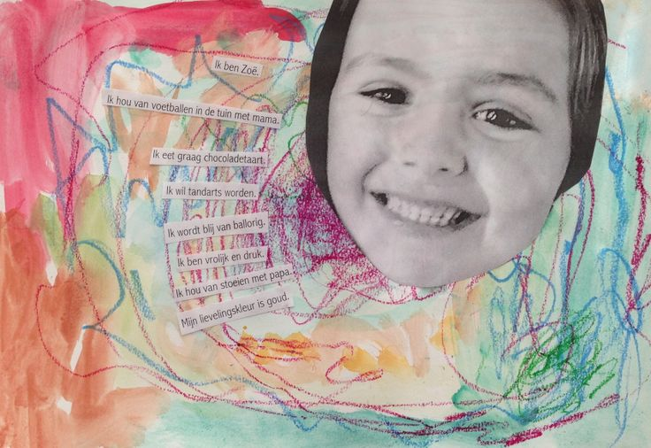 Selfportrait with artwork, favourite things and picture. Artworkshops for children @ www.facebook.com/meestertjes