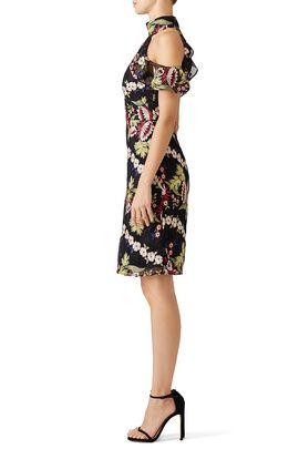 Black Floral Garden Embroidered Dress by ML Monique Lhuillier
