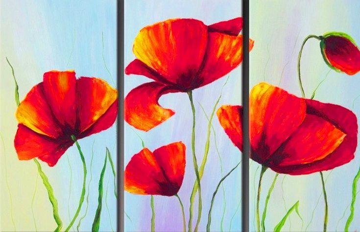 Cuadros Trípticos de Flores | Bodegones y Paisajes Cuadros al Óleo