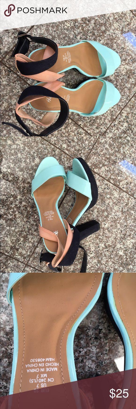 Blue and beige wedges H&M blue and beige wedges size: US 7 H&M Shoes Wedges