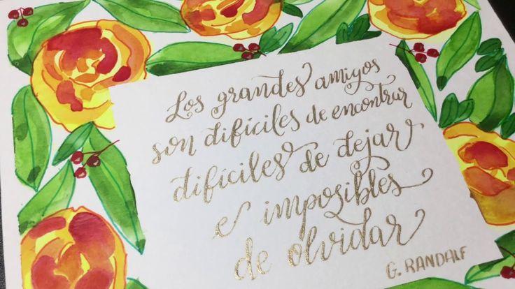 Lettering Con acuarelas Plumilla Y Corona Floral Cuadrada