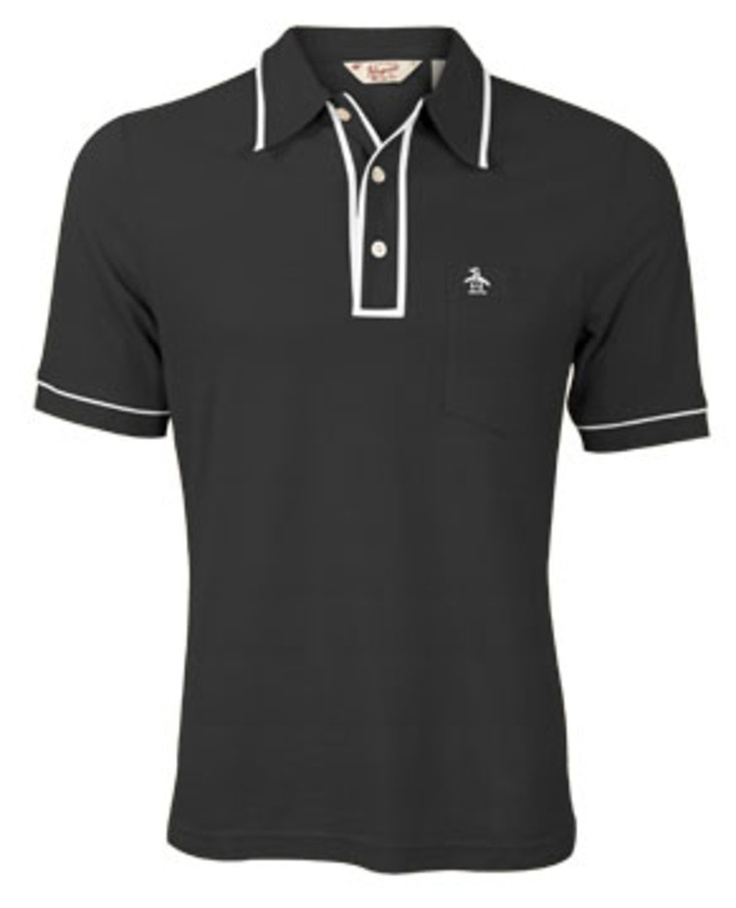 If you have to wear a polo, this one has nice details. The Earl Pique Polo  Shirt - Caviar knit short sleeve shirts Original Penguin Clothing