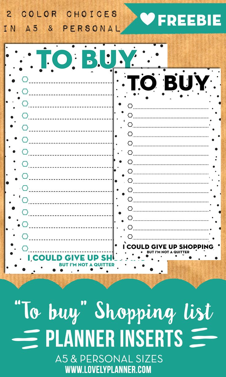 Free Printable To Buy Shopping List Inserts from Lovely Planner