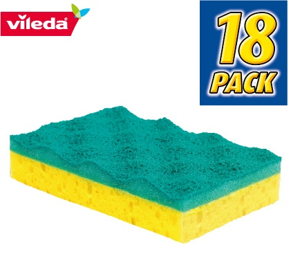 Vileda Non-Scratch Scouring Sponge Bulk 18 Pack only available at the official Vileda Australia eBay Store.   A sponge and scourer in one. The scouring side features a special patented non-scratch material which breaks up the dirt and lifts it away from surfaces without scratching.  Powerful scouring performance without harsh scratching.  *Recommended by DuPont TEFLON.