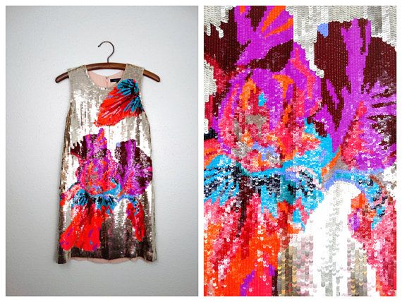 VTG Inspired Sequined Dress // Bright Floral Sequin Dress // Vintage Inspired Mini Dress Small