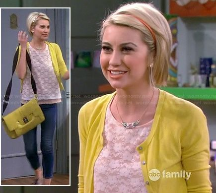 Riley's white lace top with yellow cardigan and messenger bag on Baby Daddy.  Outfit Details: http://wornontv.net/18597/ #BabyDaddy