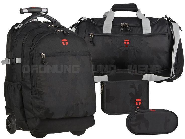 Take it Easy CAMOUFLAGE BLACK - 4tlg SET Trolley Rucksack Sporttasche Stiftetui Schlamper - schwarz 28045-495-001-S