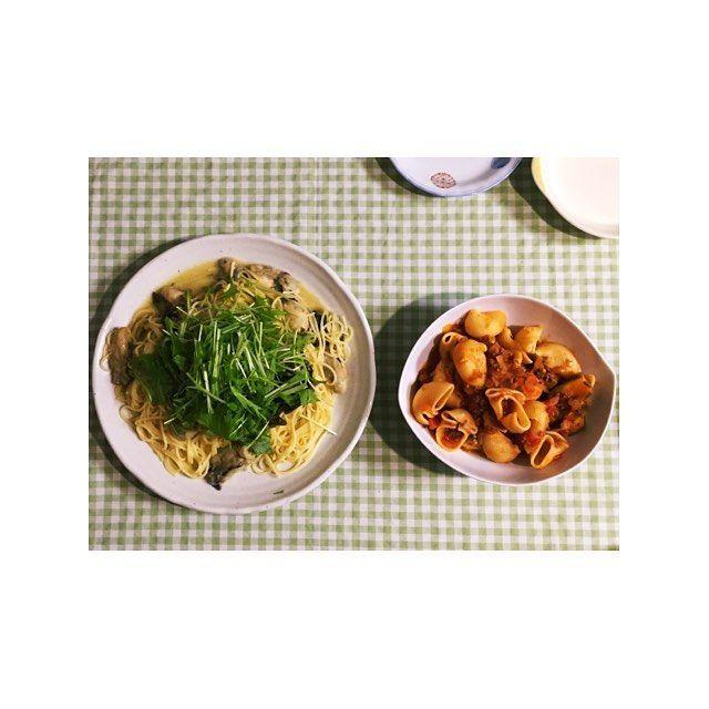 misao_my♢ このまえの晩ごはん 味噌ニンニクと牡蠣のスパゲッティ ナスとミートソースのルマキーネ  んも〜美味しすぎて。 美味しいごはんを食べられることは本当に幸せなことです。一緒に料理ができることも幸せなことです。小さなことに感謝。  #japan #tokyo #dinner #pasta #oysters #homedinner #日本 #東京 #晩ごはん #おうちごはん #ディナー #パスタ #スパゲッティ #ミートソース #美味 #喉乾いた