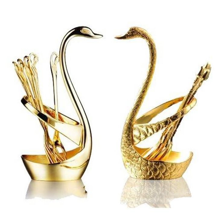 New Swan fruit Dessert fork sets gold luxury quality cutlery fork fruit wedding gift cutlery set gift set set de table shelf #Affiliate