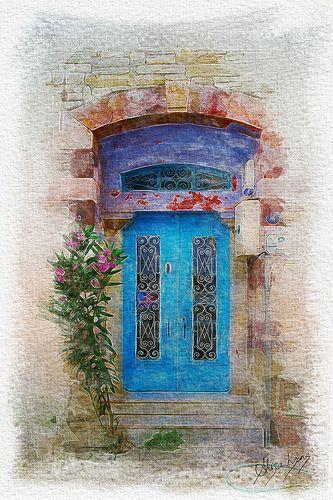 Blue Door in Foça, Turkey