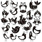 witte uil : Een leuke vector set van 20 cartoon vogels Stock Illustratie