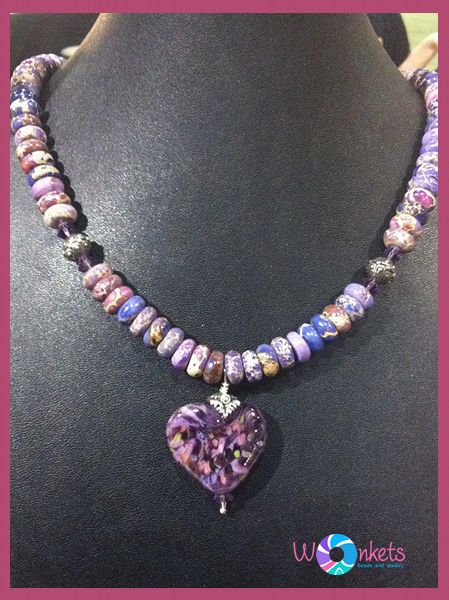 WONKETS Pink Jasper necklace - the glass lampwork heart as the focal point in the necklace is just gorgeous!