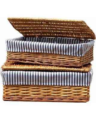 Find the Best Deals on Vintiquewise Lined Storage Baskets with Lids (Set of 2) (Set of 2), Beige (Fabric)