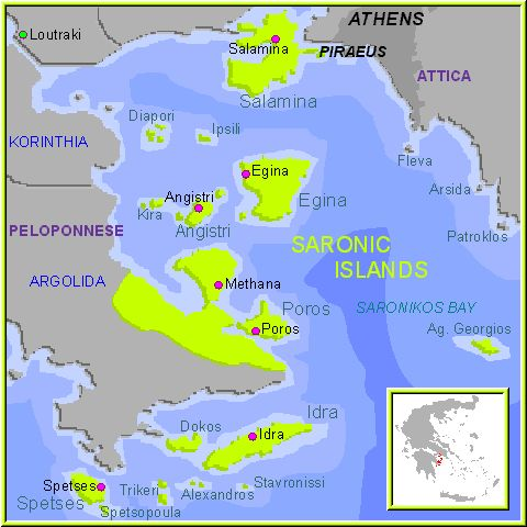Mapa de las Islas Sarónicas, Islas Griegas Grecia.