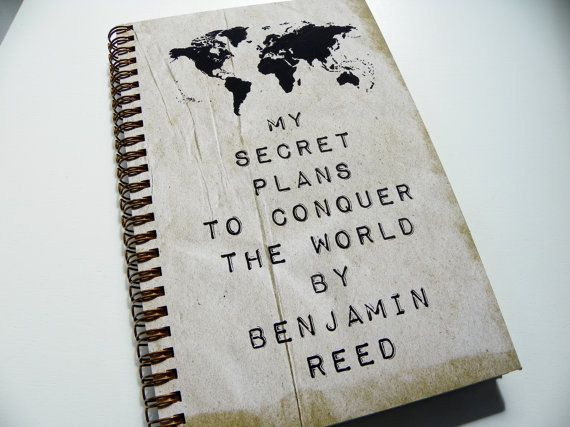 Personalized Journal. My Secret Plans to Conquer the World by (custom name). Journal Measurements: Outer Size - 5.75 x 8.75 Sheets of Lined
