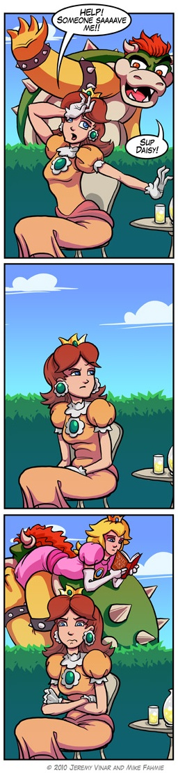 I'm not sure what I like more--Daisy's reaction or Peach's.