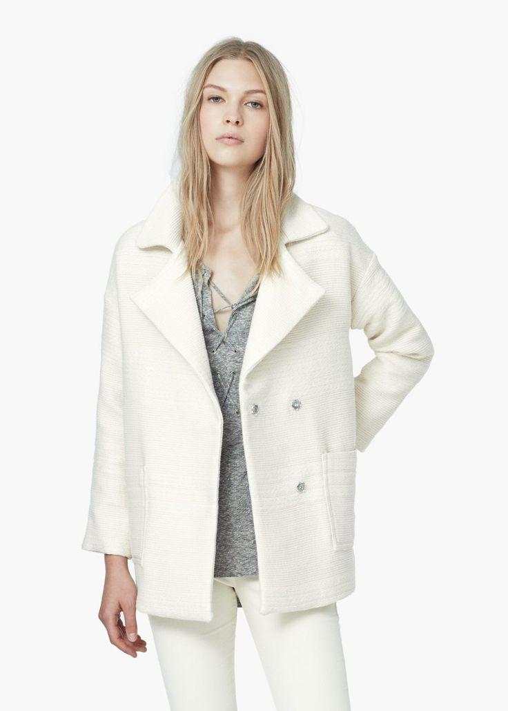 Manteau jacquard coton - Manteaux pour Femme | MANGO