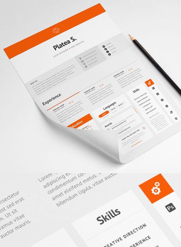free minimal resume template free psd files