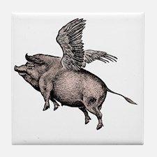 Flying Pig Tile Coaster for