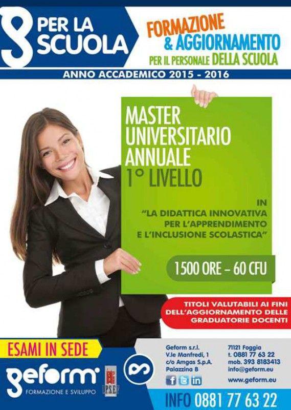 """Master annuale di I livello in """"La didattica innovativa per l'apprendimento e l'inclusione scolastica"""""""