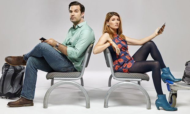 Sharon from Catastrophe: Promotional photo: Poppy romper, black tights, blue boots. If anyone knows where to find this romper please message me.
