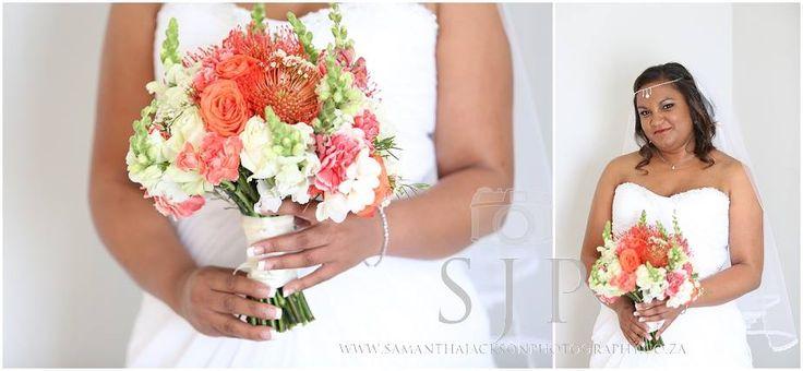 Hand tied bouquet of pincushions, orange crush roses, lisianthus, mini carnations and stocks. Thanks to Samantha Jackson photography