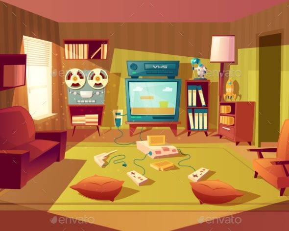 Vector Cartoon Retro Room With Video Games Decoracao Sala Vintage