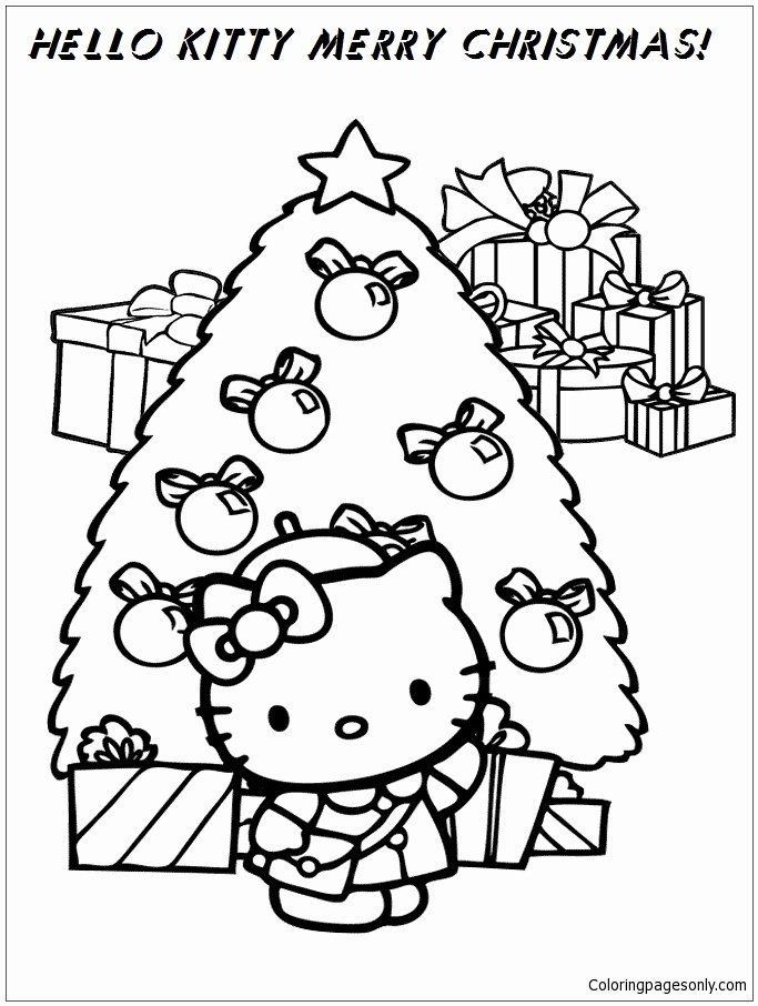 Merry Christmas Tree Coloring Page Beautiful Coloring Pages Fairy House In 2020 Hello Kitty Colouring Pages Hello Kitty Coloring Kitty Coloring