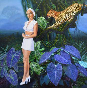 Original Painting on Canvas retro landscape Lana Turner