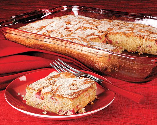 Penzeys Sour Cream Rhubarb Cake
