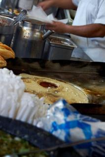 Cooking taquitos - La Noche Buena in Olvera Street has great tacos, as good as King Taco!
