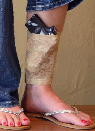 I have been asked about these for women carrying concealed in the spring. Femme Fatale Holsters - Elegant lace ankle sock holster