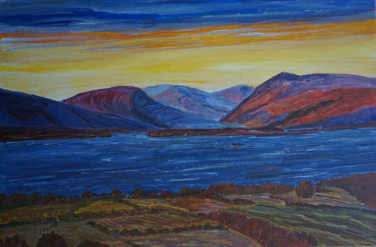 Vivid Imagination, lake rocky mountains fields, all in vivid colours,modern brig