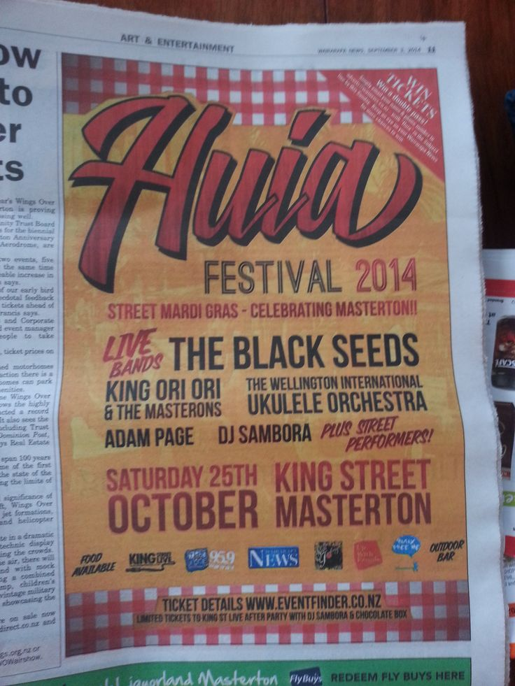 The Huia Festival is an event being run in Masterton in October 2014 by the team at King Street Live. The King Street Live website was a custom build and a collaboration with Gregory Studio. www.kingstreetlive.co.nz