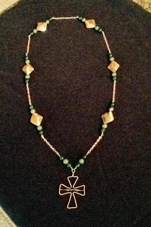 Copper necklace with cross pendant - Jewelry creation by baercub