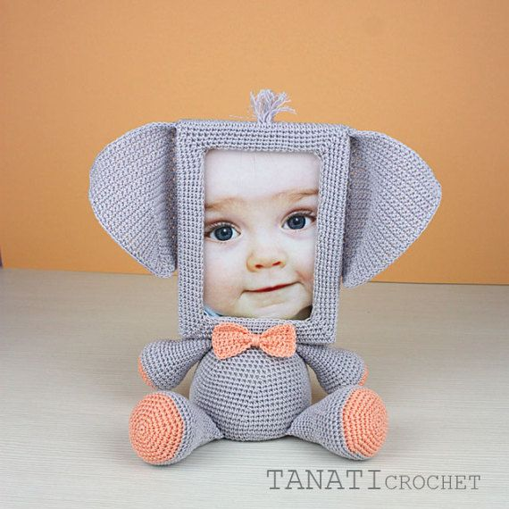 This is a crochet pattern (PDF file) NOT a finished doll you see on the photos! If you would like to purchase the finished toy, please dont hesitate to contact me. I can crochet it especially for you for $38 (shipping not included).  This pattern is available in English. SKILL LEVEL: INTERMEDIATE  Photo Frame ELEPHANT – size 25 cm (10 in), created from 100% cotton yarn.  Material: • yarn • hook 2.5 mm • glue gun • soft stuffing • scissors • Photo Frame 10x15 (frame width of 1.5 cm…