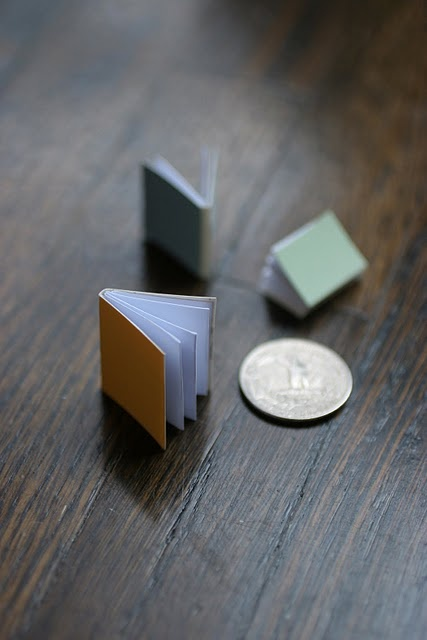 using paint chips to make mini books..... perfect for SWAPS