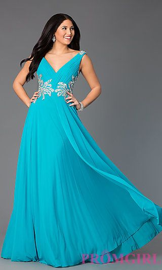 Sleeveless Long V-Neck Gown from JVN by Jovani. Shop the look: http://www.promgirl.com/shop/dresses/viewitem-PD1320456
